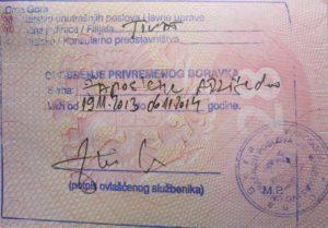 Краткосрочная виза в Черногорию категории C